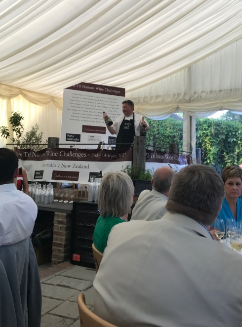 Roger Jones announcing the sparkling wine winner