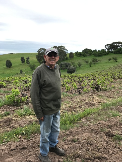 Bernard Smart in his family's vineyard dating back to 1921